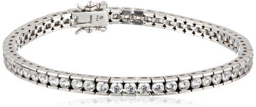 Platinum-Plated Sterling Silver Swarovski Zirconia Round Tennis Bracelet, 7.25