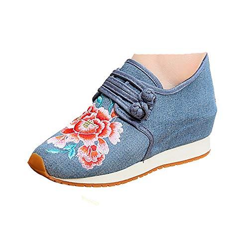 Ricamo Scarpe Fiori Blue Sneakers Casual Viaggio Tela Donna Stile Etnico Fanwer 6vxXtt
