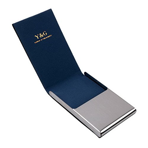 Blue business card case for men Black Stainl?ess Steel Y&G leather card case with gift box CC1012  Blue
