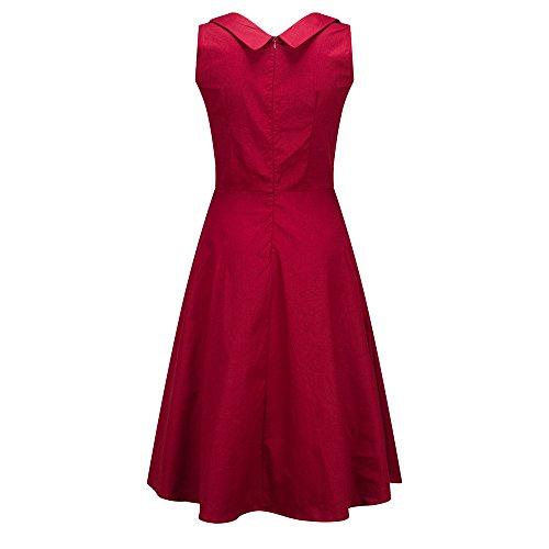 Skater Style Size Vintage V Evening Wine Dress Prom Sleeveless Neck Dress Women's Classy Bewish Elegant Swing Plus tfzqxv