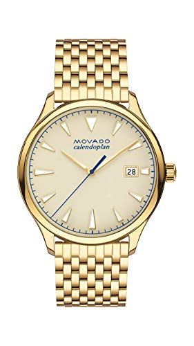 Movado Heritage, Yellow Gold Ion-Plated Stainless Steel Case, Parchment Dial, Yellow Gold Ion-Plated Stainless Steel Bracelet, Men, 3650013