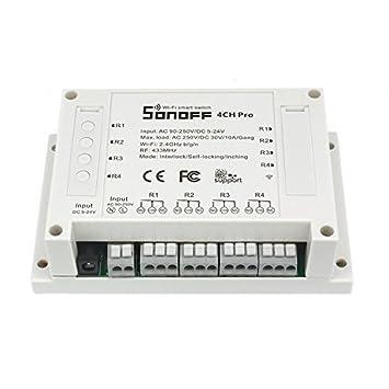 480dfe5021e Sonoff 4CH Pro - 4 Gang Inching Self-Locking Interlock WiFi RF Smart ...