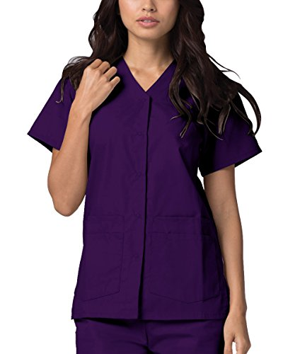 Adar Universal Double Pocket Snap Front Top (Available in 39 Colors) - 604 - Purple - XL ()