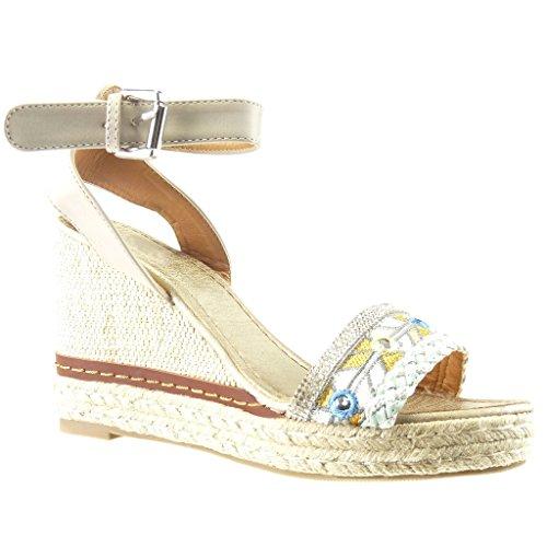 Angkorly - Chaussure Mode Sandale Espadrille plateforme femme strass diamant lanière corde Talon compensé plateforme 10 CM - Gris