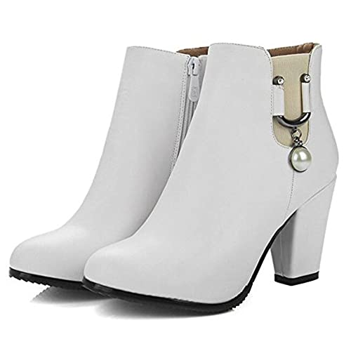 Women's Fall Trendy Solid Beaded Smile Round Toe Zipper Ankle High High Chunky Heel Boots