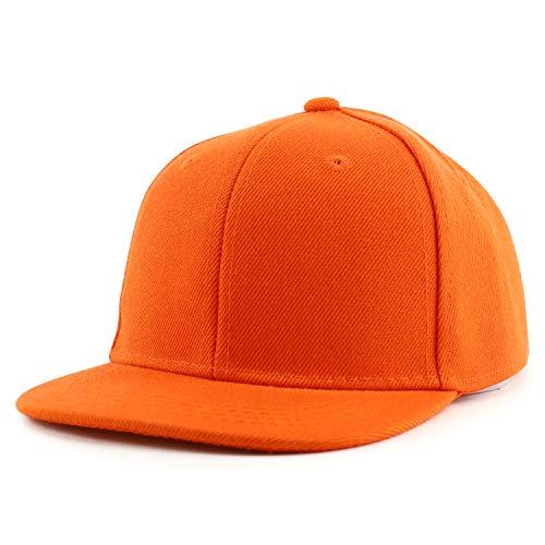 Trendy Apparel Shop Infant to Toddler Kid's Plain Structured Flatbill Snapback Cap - Orange