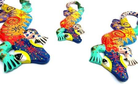 Whimsical Gecko Plaque 3 pc Set for Home and Garden Colors Vary