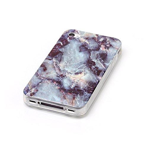 Beiuns pour Apple iPhone 4 4G 4S (3,5 pouces) Coque en Silicone TPU Housse Coque - N233 marbre E