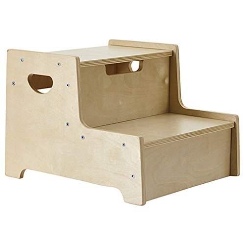 ECR4Kids Boost Me Up Step Stool Two Step Wood Stepping Stool for Kids and Toddlers ELR-17428