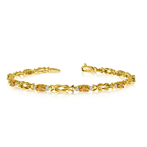 (1.84 Carat (ctw) 14K Yellow Gold Oval Yellow Citrine and Diamond Interlocked Tennis Bracelet - 7