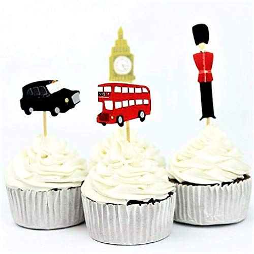 Various Fun Designs of New York/London/Mermaids/Cowboys Cupcake Toppers for Birthday/Events/Party sets of 24 (London Landmark)