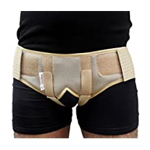Wonder Care-Beige Double Inguinal Hernia support belt/brace - with 2 removable compression pad and Adjustable groin straps-L