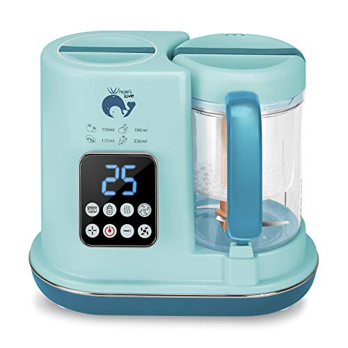 Whale's Love 5 in 1 Baby Food Maker with Steamer Blender Warmer and Auto Cleaning Multifunctional Organic Food Processor Mills Machine for Infants and Toddlers Purees (Multifunctional Food Processor)
