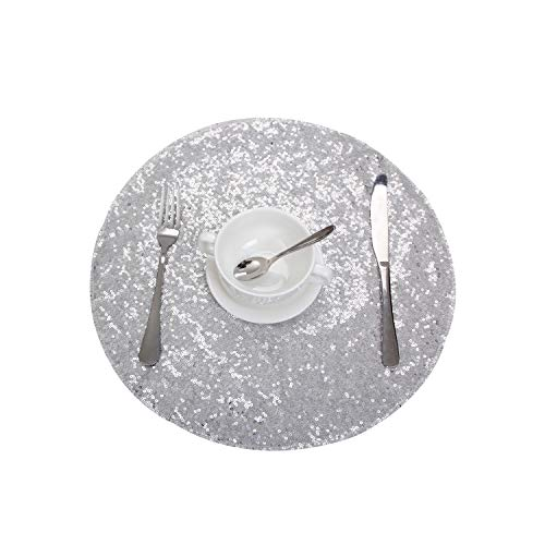 Party Delight Sequin Placemats for Baby Shower Wedding Dining Room Table mats, Set of 4, Silver, 15'' Round ()