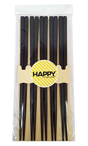 Happy Sales 5 Pairs Wooden Chopstick Set Tokyo Black ()