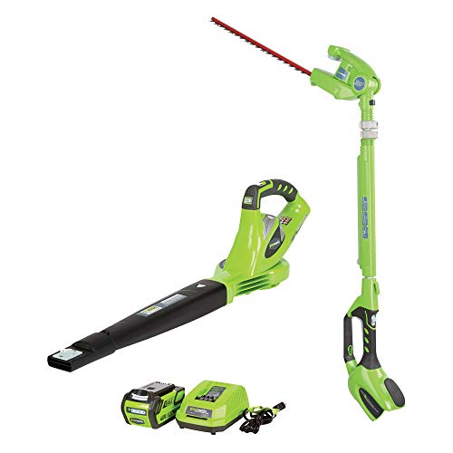 GreenWorks 40 Volt Battery Powered Cordless Hedge Trimmer and Leaf Blower Combo with Battery Charger Unit, Green