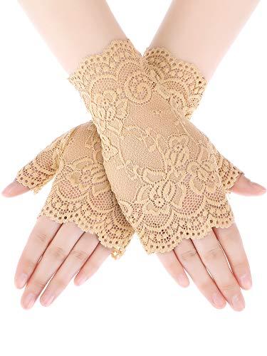 Skylety Sunblock Fingerless Bridal Lace Gloves Short Floral Gloves Wrist Length Wedding Dress Gloves for Prom Evening Wedding Party (Khaki -