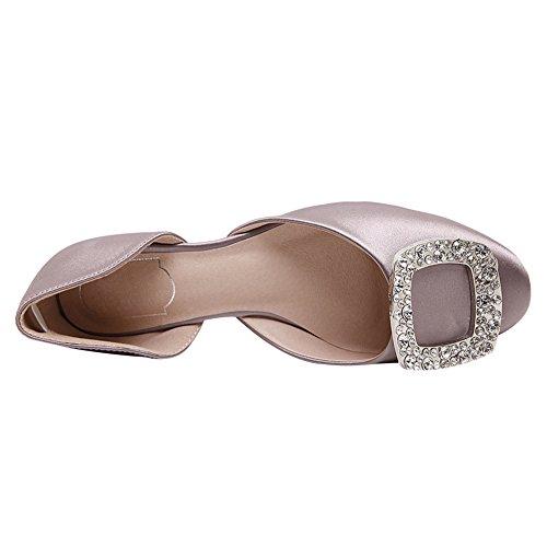 Élégant Femmes Boucle Rond Deux amp; Pompes Glisser Bout D'orsay Pièces Strass Satin Jamron De Sur Chaussures Habillées Rose Plat q4B5q
