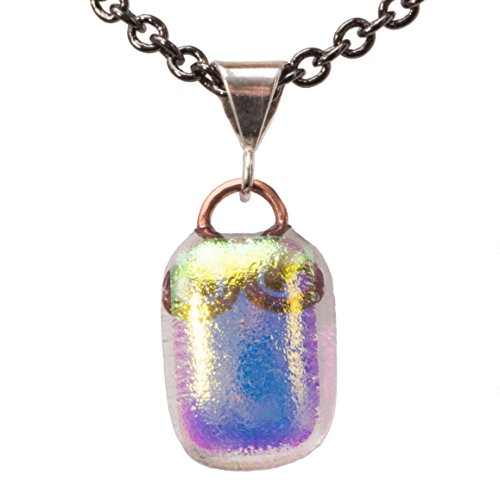 (Small Dichroic Fused Glass Pendant,Gold and Purple)