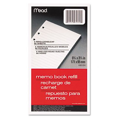 6-Ring Memo Book Refill, College Rule, 6Hp, 6-3/4 X 3-3/4, 80 Sheets [Set of 5] 6.75' Paper