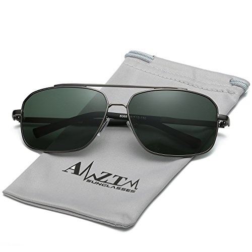 AMZTM Men's Classic Vintage Rectangular Aviator Sunglasses Retro HD Polarized Shades Double Bridge Metal Frame Driving Fishing Glasses100% UV400 Protection (Grey Frame Dark Green Lens, - Rectangular Aviator Sunglasses
