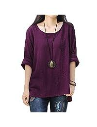 S.Charma Women Linen Solid Color Plus Size Blouse Long Sleeve Side Split Shirt Tops