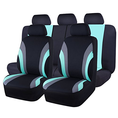NEW ARRIVAL- CAR PASS Line Rider 11PCS Universal Fit Car Seat Cover -100% Breathable With 5mm Composite Sponge Inside,Airbag Compatible (Black And Mint (Back Universal Seat Cover)
