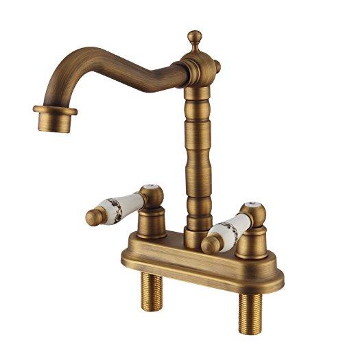 ANNTYE Waschtischarmatur Bad Mischbatterie Badarmatur Waschbecken Messing antik Doppelloch Retro Rotierende kaltes und Heißes Wasser Badezimmer Waschtischmischer