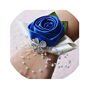 Wedding Wrist Corsages Bride Bridesmaids Hand Flowers Tiffany Blue Royal Blue Purple Party Wedding Prom Women Corsages S6076 94