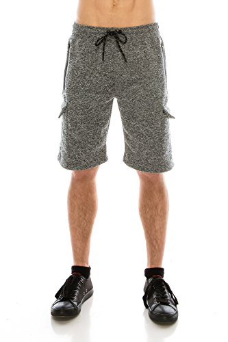 KlothesKnit Men's Classic Cargo Fleece Elastic Waist Sweat Shorts with Pockets Large Grey by KlothesKnit (Image #4)