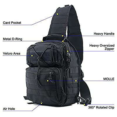 Tactical Sling Bag Pack Black Military Rover Shoulder Sling Backpack Small EDC Molle Assault Chest Crossbody Bag