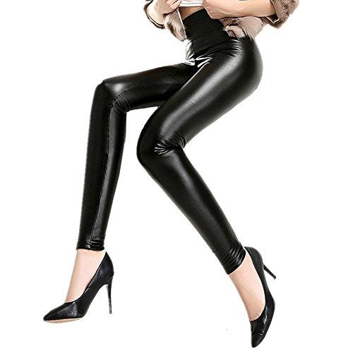 Antopmen Women's Winter Warm Velvet Stretchy Full Length Fleece Lining Leather Leggings (Large, Black01)