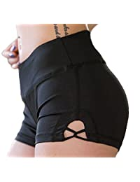Helisopus Womens Stretch Solid Athletic Shorts Cross Side Tie Dance Yoga Shorts