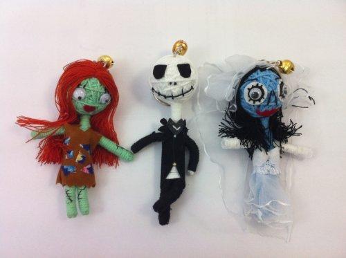 A Nightmare Before Christmas Set 3 x Voodoo String Doll Keychain Jack Skellington Sally Corpse Bride by String Doll (Jack Skellington And Sally)