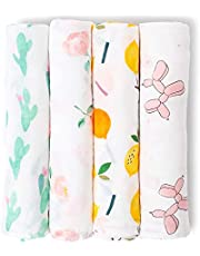 Mamimore Baby Swaddle Blankets Unisex Muslin Swaddle Blankets Soft Silky Bamboo Neutral Receiving Swaddle Wrap for Boys and Girls Newborn to Toddler 47x47 inch 4 Pack