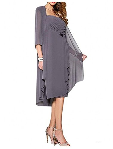 of Pieces Knee Dress Length Women's Gown Prom the Bridal Mother Green Grey Dark Botong 2 YRAxq