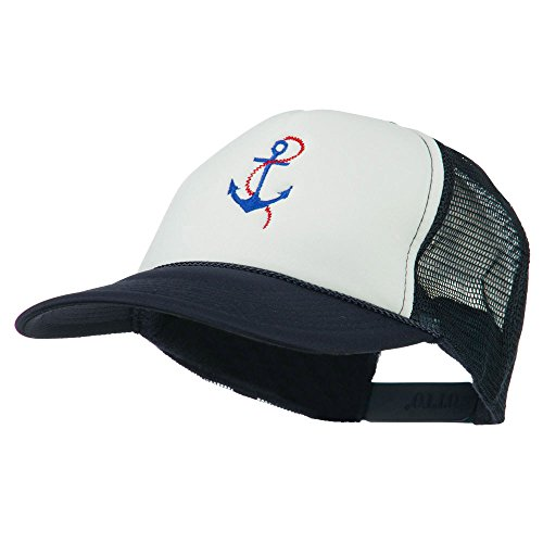 Chain Cap White Anchor (E4hats Anchor with Chain Embroidered Foam Mesh Back Cap - Navy White OSFM)