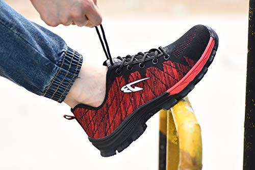 Axcer Traspiranti Acciaio Nero rosso Uomo Punta di Escursionismo con S3 Sicurezza Lavoro Donna Calzature Sportive da Scarpe Scarpe per e da Comodissime Scarpe Sneaker Stivali da Cantiere Antinfortunistiche in wpwZxOq