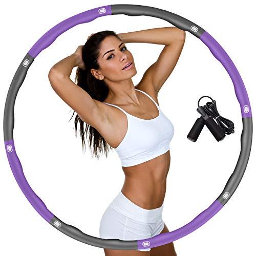 DUTISON Fitness Erwachsene Reifen Hoop zur Gewichtsreduktion,Hoop mit Schaumstoff Gewichten Einstellbar Breit 48–88 cm beschwerter Übungsreifen-Hoop für Fitness mit Springseil