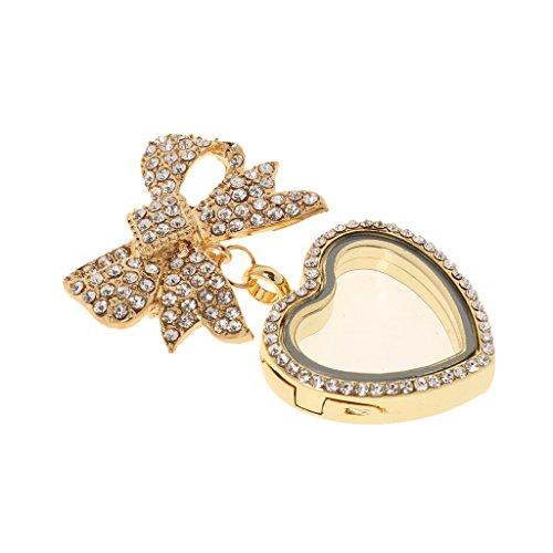 MagiDeal 3ways Fashion Jewelry Crystal Rhinestone Bowknot Brooch Pin Glass Heart Pendant Locket Women - Gold
