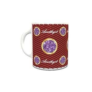 White Ceramic Coffee Mug with Birthstone Amethyst Design