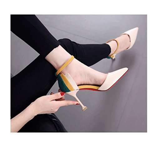 Ms Buckle Sexy Single Beige Shoes Hollow Fight Shoes Shoes Bare Fashion Heeled Dream Shoes Pointed High 1PqaxwB
