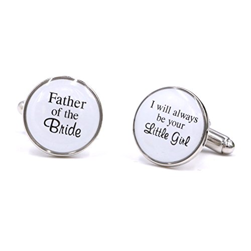 LParkin Wedding Gift Cuff Links -Father of the Bride / I will always be your Little Girl (White)