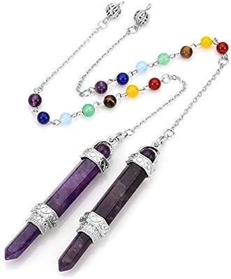 New Natural Gemstones Hexagonal Pointed Reiki Chakra Pendant Necklace Bead BT