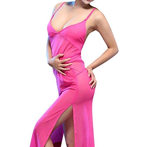 Letdown Hot Sale, Women Sexy New Solid Cheongsam Dresses Big Skirt Underwear Nightdress Lingerie (Pink Camisole Set)
