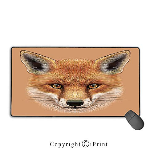 Mouse pad with Lock,Fox,Cute Fluffy Face of Forest Fox Young Baby Mammal Predator Canine Vixen Decorative,Light Brown Orange White,Premium Textured Fabric, Non-Slip Rubber Base,9.8