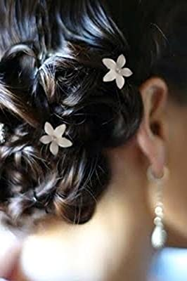 White Flower Hair Pin Twister Coil Spiral with Rhinestone Crystal for Wedding, Prom, Party and Special Event (Set of 8)