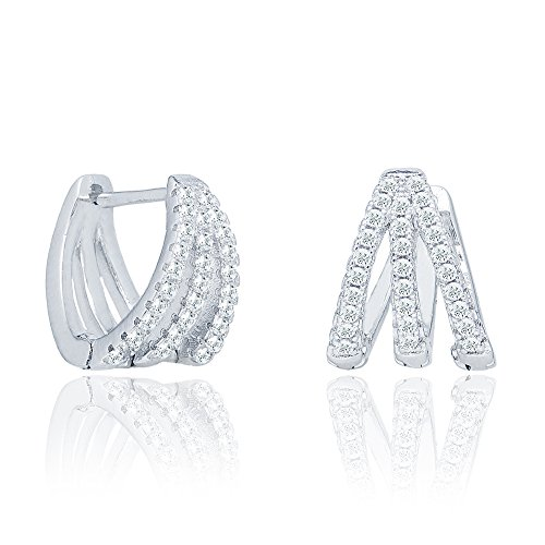 Cate & Chloe Aliyah 18k White Gold Round Cut CZ Crystal Pave Huggie Hoop Earrings, Unique Silver Crystal Small Hoops for Women, Pave Cluster Earring Set, Wedding Anniversary Jewelry MSRP - $160