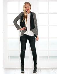 LookbookStore Women\'s Casual Grey Contrast Draped Asymmetric Blazer Jacket US 14
