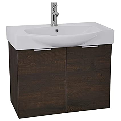 ARCOM KAL07 Kalboza Wall Mount Vanity Cabinet Set With Fitted Curved Sink,  28u0026quot;,
